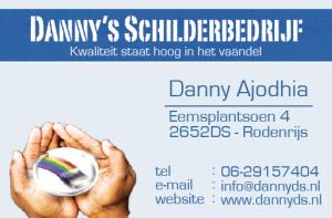 DannysSchilderbedrijf - Visitekaartje Voorzijde